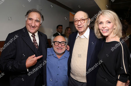 "From left, cast members Judd Hirsch and Danny DeVito pose with Playwright Neil Simon and Elaine Joyce backstage after the opening night performance of Neil Simon's ""The Sunshine Boys"" at Center Theatre Group/Ahmanson Theatre, in Los Angeles, Calif"