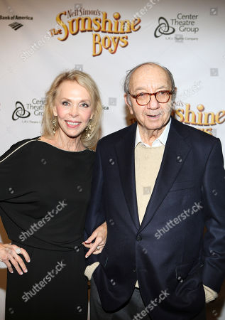 "From left, Elaine Joyce and Playwright Neil Simon pose during the arrivals for the opening night performance of Neil Simon's ""The Sunshine Boys"" at Center Theatre Group/Ahmanson Theatre, in Los Angeles, Calif"