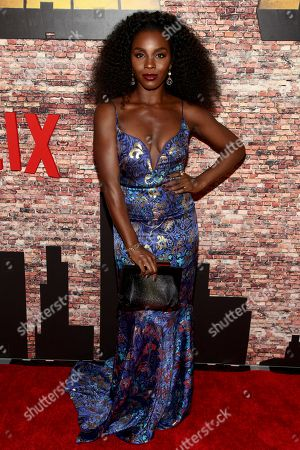 "Deborah Ayorinde attends the Netflix's original series premiere of Marvel's ""Luke Cage"" at the AMC Magic Johnson Harlem 9 Theater, in New York"