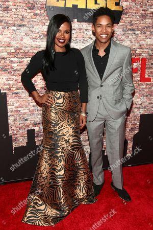 "Stock Image of Ninja Devoe, left, and Kelvin Harrison Jr., right, attend the Netflix's original series premiere of Marvel's ""Luke Cage"" at the AMC Magic Johnson Harlem 9 Theater, in New York"