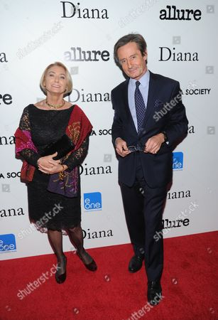 """Stock Image of Agnes Marcaillou, Director of the United Nations Mine Action Services, left, and Peter Launsky-Tieffenthal, Under-Secretary-General for Public Information at the United Nations attend the premiere of """"Diana"""" hosted by The Cinema Society, Linda Wells and Allure Magazine at the SVA Theater on in New York"""