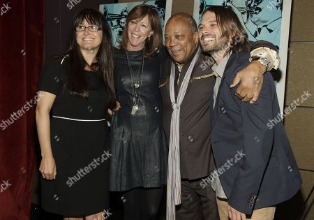 "Paula DuPre Pesmen, from left, Jane Rosenthal, Quincy Jones and Alan Hicks attend a screening of ""Keep On Keepin' On"" on in New York"