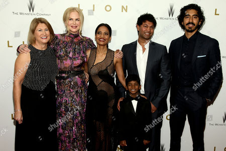 """Sue Brierley, from left, Nicole Kidman, Priyanka Bose, Sunny Pawar, Saroo Brierley and Dev Patel attend the premiere of """"Lion"""" at the Museum of Modern Art, in New York"""