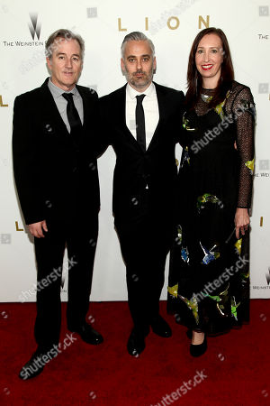 "Luke Davies, from left, Iain Canning and Angie Fielder attend the premiere of ""Lion"" at the Museum of Modern Art, in New York"