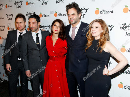 """Sam Rockwell, from left, Michael Godere, Marisa Tomei, Ivan Martin and Natasha Lyonne attend the premiere of """"Loitering With Intent"""" at the SVA Theater, in New York"""
