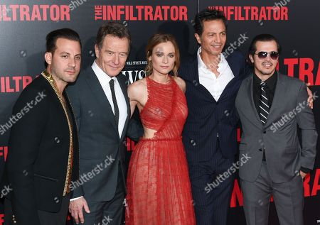 """Stock Photo of Director Brad Furman, left, poses with actors Bryan Cranston, Diane Kruger, Benjamin Bratt and John Leguizamo at the premiere of """"The Infiltrator"""" at AMC Loews Lincoln Square, in New York"""