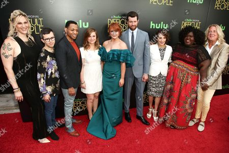 "Shakina Nayfack, from left, Cole Escola, Derrick Baskin, Amy Poehler, Julie Klausner, Billy Eichner, Andrea Martin, Gabourey Sidibe and Scott King attend the premiere of Hulu's ""Difficult People"", in New York"