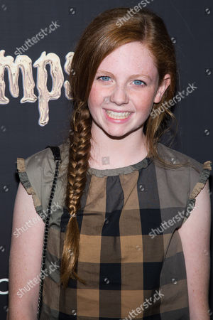 "Clare Foley attends a special screening of ""Goosebumps"" at the AMC Empire 25, in New York"