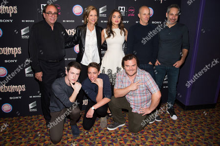 "Stock Picture of Clockwise from top left, R. L. Stine, Deborah Forte, Odeya Rush, Neal H. Moritz, Rob Letterman, Jack Black, Ryan Lee and Dylan Minnette attend a special screening of ""Goosebumps"" at the AMC Empire 25, in New York"