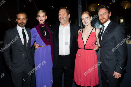 """Ned Benson, from left, Jess Weixler, Harvey Weinstein, Jessica Chastain and James McAvoy attend a screening of The Weinstein Company's """"The Disappearance Of Eleanor Rigby"""" hosted by Prada and The Cinema Society on in New York"""