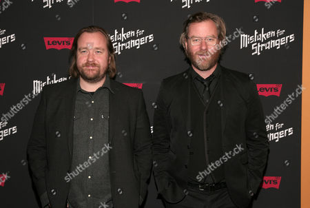 """Stock Picture of Director Tom Berninger, left, and recording artist Matt Berninger, right, attend a screening of """"Mistaken For Strangers"""" on in New York"""