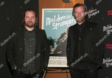 """Director Tom Berninger, left, and recording artist Matt Berninger attend a screening of """"Mistaken For Strangers,"""", in New York"""