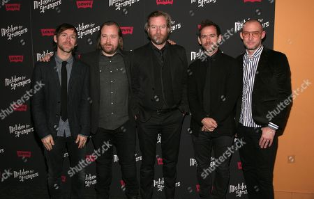 """Director Tom Berninger, second from left, poses with members of the band The National, from left, Aaron Dessner, Matt Berninger, Bryce Dessner and Scott Devendorf, at a screening of """"Mistaken For Strangers,"""", in New York"""