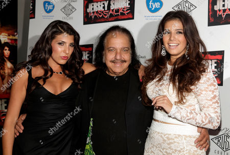 """Stock Image of From left, actress Nicole Rutigliano, actor Ron Jeremy and actress Angelica Boccella attend the premiere of """"Jersey Shore Massacre"""" on in New York"""