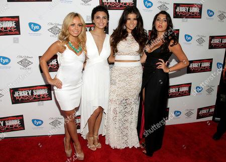 """Stock Picture of From left, actresses Christina Scaglione, Danielle Dallacco, Angelica Boccella and Nicole Rutigliano attend the premiere of """"Jersey Shore Massacre"""" on in New York"""