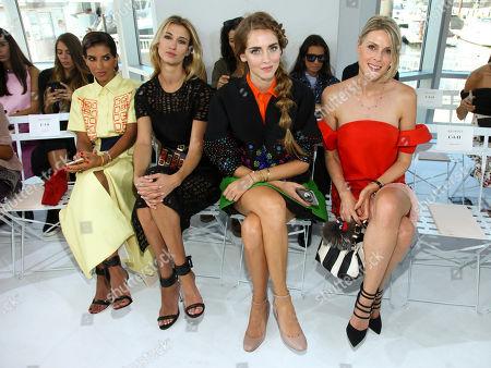 Deena Abdulaziz, from left, Lauren Remington Platt, Chiara Ferragni and Sofie Valkiers attend the New York Fashion Week Spring/Summer 2016 Delpozo fashion show, in New York