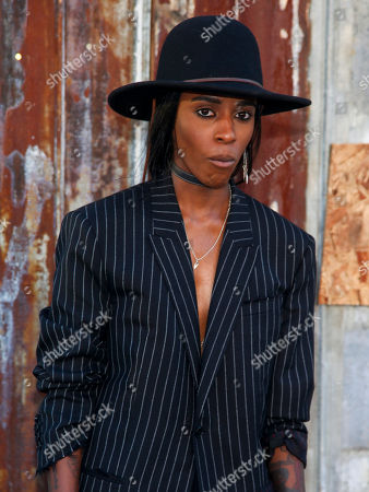 Angel Haze attends the New York Fashion Week Spring/Summer 2016 Givenchy fashion show, in New York