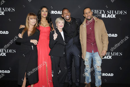 Jane Seymour, Kali Hawk, Florence Henderson, Writer/Producer/Actor Marlon Wayans and Affion Crockett seen at Open Road Films Premiere of 'Fifty Shades of Black' at Regal L.A. Live, in Los Angeles, CA