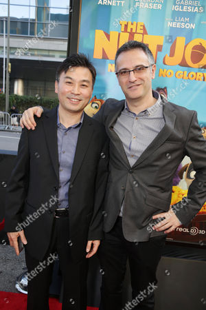 Executive Producer Hong Kim and Director/Writer Peter Lepeniotis seen at Open Road's Premiere of 'The Nut Job', on in Los Angeles