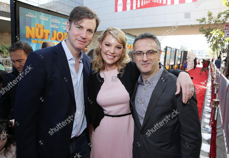 Stock Picture of Executive Producer Mike Karz, Katherine Heigl and Director/Writer Peter Lepeniotis seen at Open Road's Premiere of 'The Nut Job', on in Los Angeles