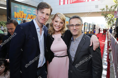 Executive Producer Mike Karz, Katherine Heigl and Director/Writer Peter Lepeniotis seen at Open Road's Premiere of 'The Nut Job', on in Los Angeles