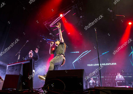 Joel Houston and Jonathon Douglass with Hillsong UNITED performs during the Outcry Tour 2015 at Verizon Wireless Amphitheatre, in Atlanta