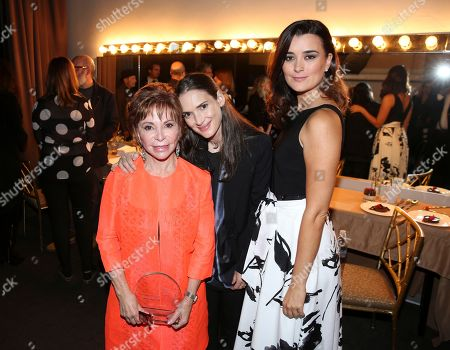 Stock Image of Isabel Allende, recipient of the Lifetime Achievement Award, from left, Winona Ryder, and Cote de Pablo backstage at the 26th Annual PEN Center USA Literary Awards Festival at the Beverly Wilshire Hotel, in Beverly Hills, Calif