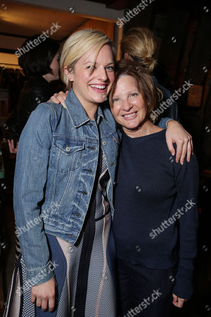 EXCLUSIVE CONTENT - PREMIUM RATES APPLY Elisabeth Moss and mother Linda Moss seen at the Pre-Emmy Dinner at the Levi's Haus hosted by Elisabeth Moss and Connie Britton at Levi's Haus on Thursday, Sep, 19, 2013 in Hollywood, Calif