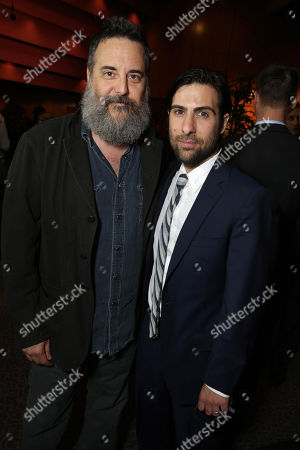 Stock Image of Mark Romanek and Jason Schwartzman seen at the Los Angeles Premiere of Tribeca Film's PALO ALTO, sponsored by Farfetch on in Los Angeles
