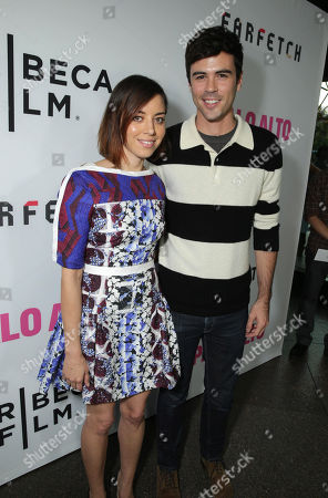 Aubrey Plaza and Blake Lee seen at the Los Angeles Premiere of Tribeca Film's PALO ALTO, sponsored by Farfetch on in Los Angeles