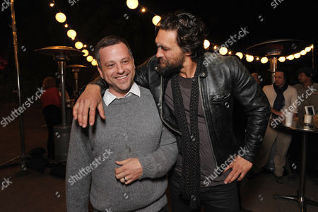 "Creator/writer/co-executive producer Aaron Guzikowski, left, and Jason Momoa attend the premiere screening of SundanceTV's ""The Red Road"", on in Los Angeles"