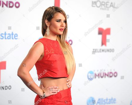 Kimberly dos Ramos arrives for the Premios Tu Mundo Awards at the American Airlines Arena on in Miami, Florida