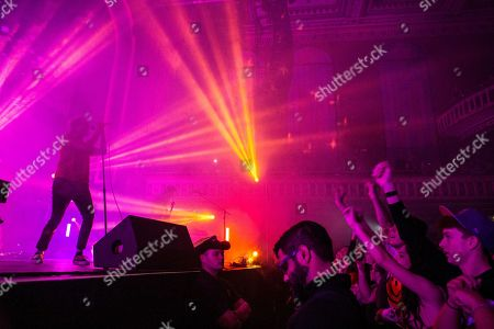 Stock Image of Aaron Bruno, Kenny Carkeet, Zach Irons, Isaac Carpenter and Marc Walloch with AWOLNATION performs during the Radio 105.7 Holiday Spectacular at the Tabernacle, in Atlanta