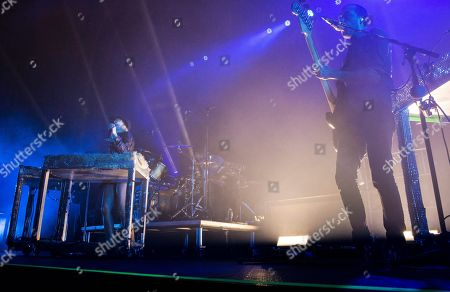 Stock Photo of Emily Haines, James Shaw, Joshua Winstead and Joules Scott-Key with Metric performs during the Radio 105.7 Holiday Spectacular at the Tabernacle, in Atlanta