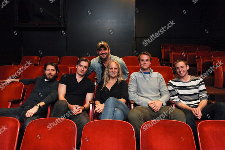 """From left, MacLeod Andrews, cast member """"Jake""""; Seth Numrich, lead cast member """"Eli""""; Daniel Talbott, Writer and Director; Wendy vanden Heuvel, cast member """"Jan""""; Maxwell Hamilton, cast member """"Chris"""" and Brett Donaldson, understudy cast member """"Eli"""" pose during a rehearsal for Daniel Talbott's """"Slipping"""" the first Los Angeles production from New York's Rattlestick Playwrights Theater held at the El Centro Theatre on in Los Angeles, Calif"""