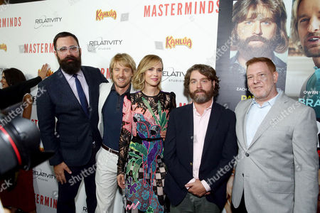 """Director Jared Hess, Owen Wilson, Kristen Wiig, Zach Galifianakis and Ryan Kavanaugh, CEO of Relativity Media, seen at Relativity Studios Presents """"Masterminds"""" Los Angeles Premiere at TCL Chinese Theatre, in Hollywood"""