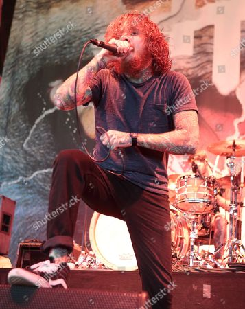 Mike Hranica of the band The Devil Wears Prada performs in concert during the 2015 Rockstar Energy Drink Mayhem Festival at the Susquehanna Bank Center, in Camden, N.J