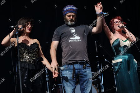 Stephanie Hunt, Nick Offerman, and Megan Mullally perform as Nancy & Beth at The Sasquatch! Music Festival on in George, Washington