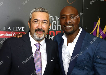 """Jon Cassar, left, and Morris Chestnut attend the Screen Gems premiere of """"When the Bough Breaks"""" at Regal Cinemas L.A. Live, in Los Angeles"""