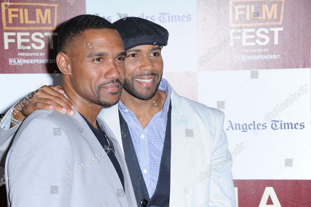 """Kent Faulcon, at left, and Omari Hardwick arrives at the L.A. gala screening for """"Middle of Nowhere"""" at Regal Cinemas L.A. Live on in Los Angeles"""