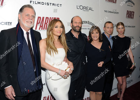 """Director Taylor Hackford, left, poses with actprs Jennifer Lopez, Jason Statham, Patti LuPone, Micah Hauptman and Emma Booth attend a special screening of """"Parker"""" hosted by The Cinema Society at the Museum of Modern Art on in New York"""