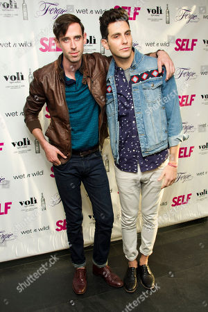 Ryland Blackinton, left, and Gabe Saporta from the band Cobra Starship attend a party to celebrate Fergie's appearance on the July cover of SELF Magazine, on in New York