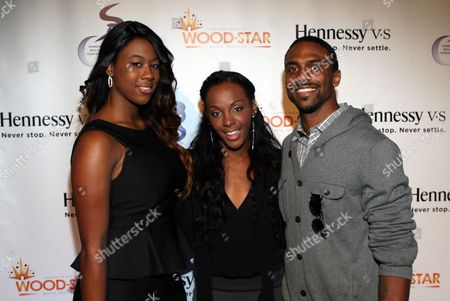 L-R) Jasmine Jordan, Dawn Richards and Jeffrey Jordan attend Shannon Brown Wood-Star Foundation Dinner on Friday August, 18, 2012, at The Loft in Chicago, Illinois