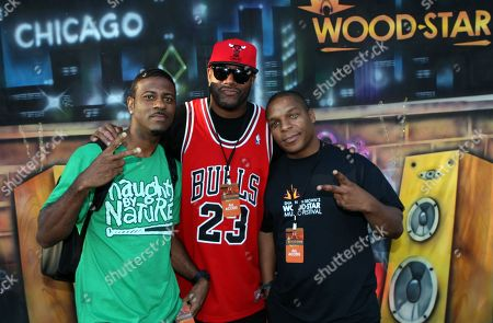 """L-R) DJ Kay Gee, radio personality Ed Lover and Vin Roc of Naughty by Nature backstage at Shannon Brown's Wood-Star Music Festival """"Hip Hop Block Party"""" on Sunday August, 19, 2012, at Union Park in Chicago, Illinois"""