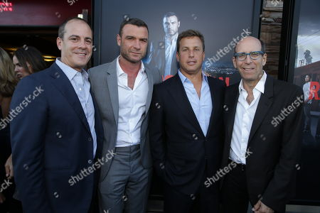 Stock Picture of David Nevins, President Showtime Networks, Inc., Liev Schreiber, Jeff Hirsch, CMO Time Warner Cable and Matthew C. Blank, Chairman and CEO, Showtime Networks, Inc. at SHOWTIME and Time Warner Cable's 'Ray Donovan' Season 2 premiere on Wednesday, July 9 at Regal Malibu Twin Theater in Malibu, Calif