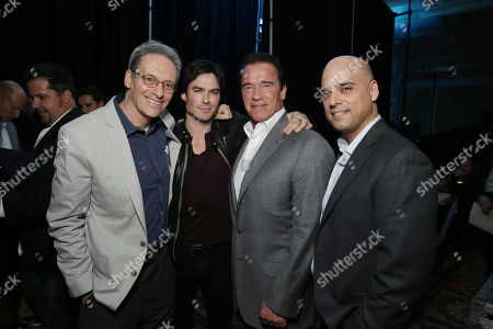 EXCLUSIVE CONTENT - PREMIUM RATES APPLY Executive Producer David Gelber, Correspondent Ian Somerhalder, Executive Producer/Correspondent Arnold Schwarzenegger and Executive Producer/Climate Expert Daniel Abbasi seen at Showtime's 2014 Winter TCA, on in Pasadena, Calif