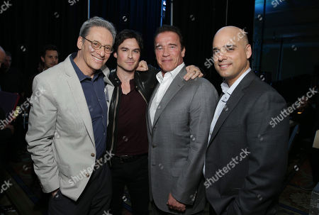 Stock Photo of EXCLUSIVE CONTENT - PREMIUM RATES APPLY Executive Producer David Gelber, Correspondent Ian Somerhalder, Executive Producer/Correspondent Arnold Schwarzenegger and Executive Producer/Climate Expert Daniel Abbasi seen at Showtime's 2014 Winter TCA, on in Pasadena, Calif
