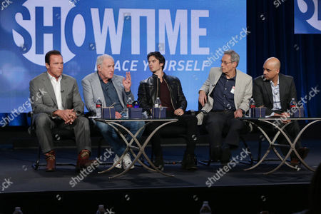 Executive Producer/Correspondent Arnold Schwarzenegger, Executive Producer Jerry Weintraub, Correspondent Ian Somerhalder, Executive Producer David Gelber and Executive Producer/Climate Expert Daniel Abbasi seen at Showtime's 2014 Winter TCA, on in Pasadena, Calif