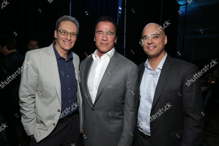 EXCLUSIVE CONTENT - PREMIUM RATES APPLY Executive Producer David Gelber, Executive Producer/Correspondent Arnold Schwarzenegger and Executive Producer/Climate Expert Daniel Abbasi seen at Showtime's 2014 Winter TCA, on in Pasadena, Calif