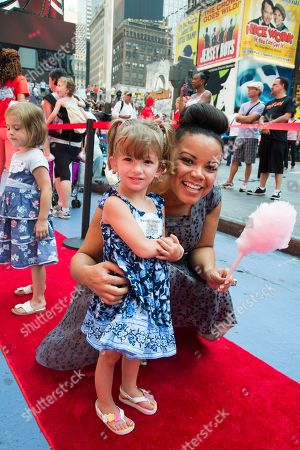 "Kimberley Locke and friend attend the ""La Dee Da"" launch party hosted by Spin Master Ltd. on in New York City's Times Square"